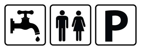 Water Tap icon,washroom sign and Parking allowed symbol in white background drawing by illustration
