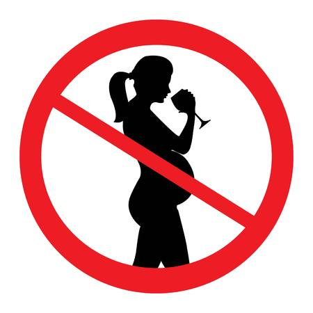 Do not drink alcohol during pregnancy. No alcohol for pregnant woman, prohibition sign, vector illustration. Stock Illustratie
