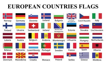 European Countries Flags with countries Names. fourty European countries flags with names drawing by illustration 스톡 콘텐츠 - 117108322