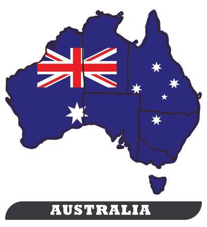 Australian Map and Australian Flag. Australian map and Australian flag use for background drawing by illustration