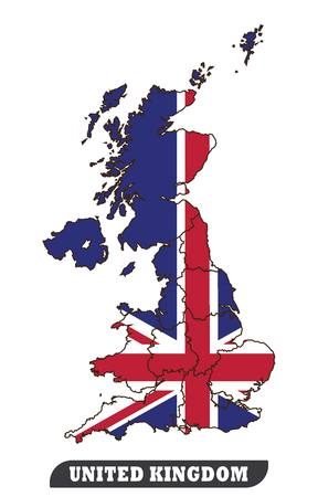 Map Of United Kingdom and Flag of United Kingdom.Map Of United Kingdom and Flag of United Kingdom use for background drawing by illustration