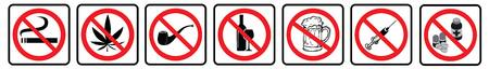 No Drugs prohibition sign collection.No Smoking,No Marijuana,No tobacco pipe,No alcohol,No Beer,No pills sign collection drawing by illustration
