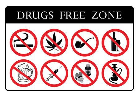 Tablero de zona libre de drogas.Sin colección de letreros de prohibición de drogas.No fumar, No marihuana, No pipa de tabaco, No alcohol, No cerveza, No hay señales de píldoras, No colección de iconos Hookah dibujo por ilustración