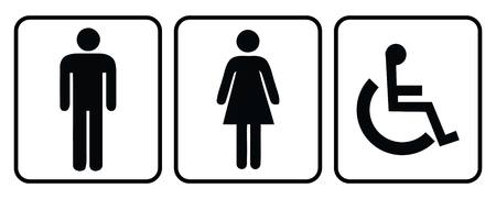 Wash room icon.Rest room icon.Male Washroom icon and Female washroom icon in white background drawing by illustration Illustration