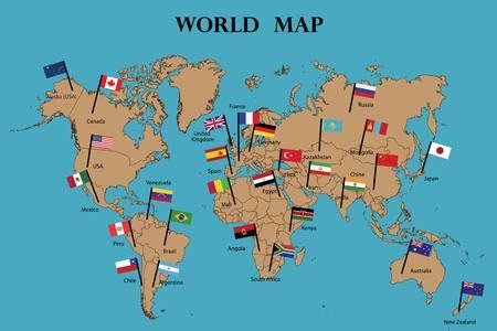 Mappa del mondo e bandiere dei paesi del mondo che disegnano per illustrazione. Nomi di paesi e bandiere segnati sulla mappa Vettoriali