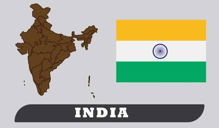 Map of India and Flag of India . Map of India and Flag of India drawing by illustration. Illustration