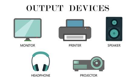Insieme dell'icona di dispositivi di output. Monitor, stampante, altoparlante, cuffia e disegno del proiettore per illustrazione