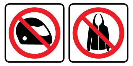 No helmet symbol and No jacket sign.No helmet symbol and No jacket sign in white background drawing by illustration.Prohibition Sign. Illustration