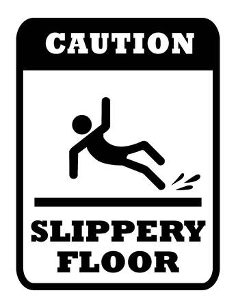 CAUTION SLIPPERY FLOOR Board.SLIPPERY FLOOR sign in White background drawing by illustration Stok Fotoğraf - 124096489