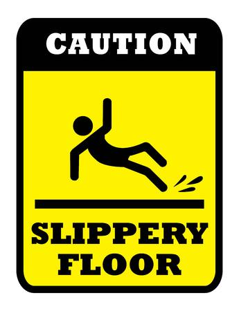 CAUTION SLIPPERY FLOOR Board.SLIPPERY FLOOR sign in yellow background drawing by illustration Stok Fotoğraf - 124096490