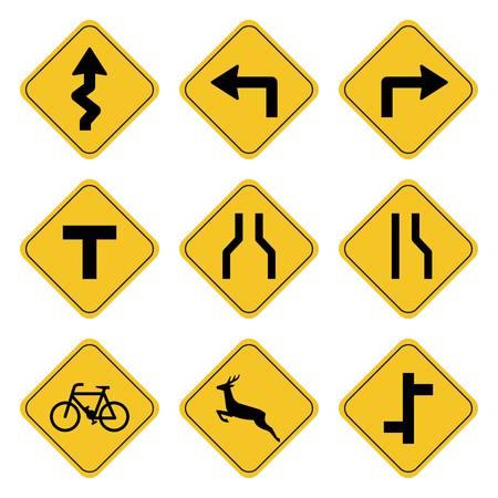 Dessin de collection de panneaux routiers par illustration.Symbole routier sur fond jaune dessin par illustration Vecteurs