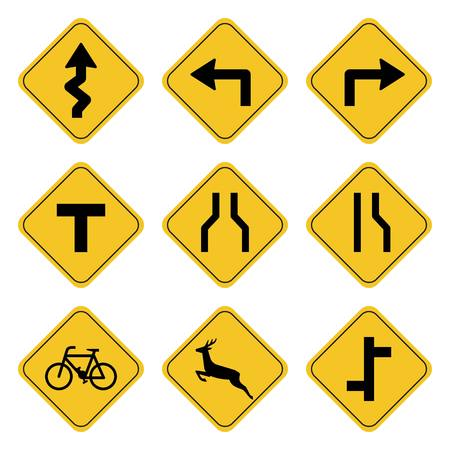 Road sign collection drawing by illustration.Road symbol on yellow background drawing by illustration Illustration