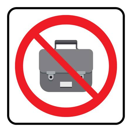 No Bags icon.Bags not allowed sign.Bags not allowed symbol drawing by illustration
