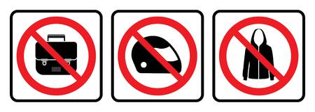 Bags not allowed icon,Full face helmet not allowed sign and No jacket symbol Ilustrace
