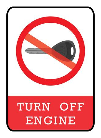 Turn off engine icon.turn off engine icon drawing by illustration.No Key sign
