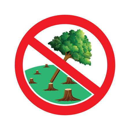 Do not cut trees sign.Do not destroy forest symbol drawing by illustration