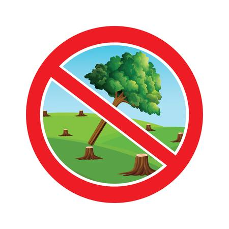 Stop cutting trees symbol.Save forest image drawing by illustration