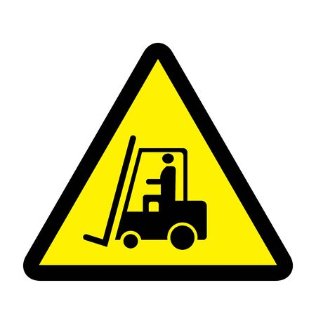 Forklift Operating Area sign on yellow background drawing by illustration