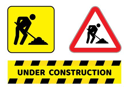 Under construction sign collection.three construction sign collection drawing by illustration Illustration
