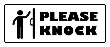 S'il vous plaît frapper porte signe.S'il vous plaît frapper porte signe sur fond blanc dessin par illustration