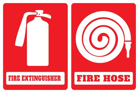 fire hose sign and fire extinguisher symbol.fire hose sign and fire extinguisher symbol drawing by illustration Ilustração