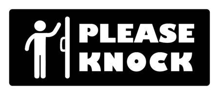 S'il vous plaît frapper porte signe.Homme frappant porte icône sur fond noir dessin par illustration Vecteurs