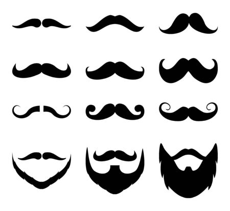 Set of mustache.Men beard collection on white background drawing by illustration