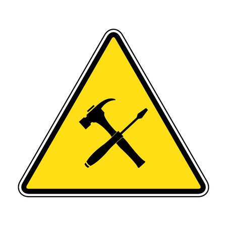 Caution attention symbol illustration. under construction icon.Under Construction Triangle Sign on yellow background drawing by illustration  イラスト・ベクター素材