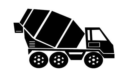 ciment, bétonnière, transport de marchandises, camion, icône de véhicule. Icône de camion malaxeur en béton dessin par illustration