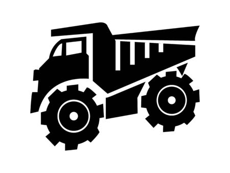 Building trucks icon.Abstract black truck icon isolated on white. Easy to edit vector design,Icon of tipper