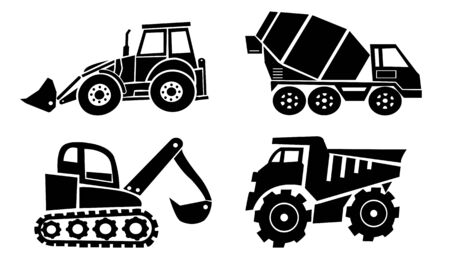 Collection of heavy trucks. Heavy-duty vehicles, designed for executing construction tasks and earthwork operations Banque d'images - 131158039