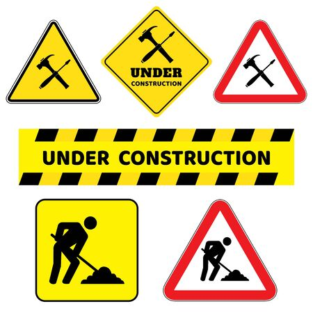 Under construction sign collection.Six construction sign drawing by illustration.Under construction sign as triangle shape with red border and yellow background  イラスト・ベクター素材