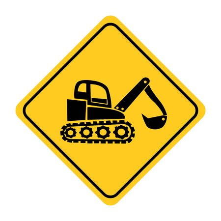 Excavator Road sign on yellow background drawing by illustration Banque d'images - 131158050