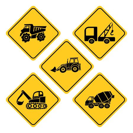 Heavy trucks road sign collection.Excavator,Concrete mixer,Excavator heavy machinery,Building trucks  and Lifting crane truck road signs Banque d'images - 131158052