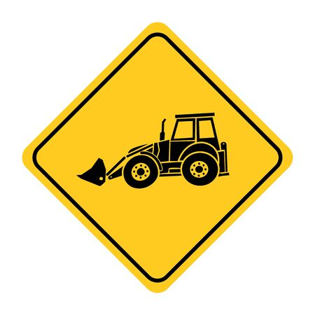 Excavator heavy machinery road sign drawing by illustration.Excavator heavy machinery road sign on yellow background Banque d'images - 131158053