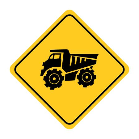 Building trucks road sign on yellow background.Tipper Icon on yellow rod sign drawing by illustration