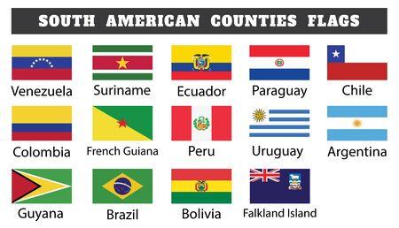 South American Countries Flags Иллюстрация