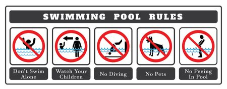 Swimming pool rules. Set of icons and symbol for pool. No Diving sign,No pets sign,No peeing in pool  icon and Don`t swim alone icon.