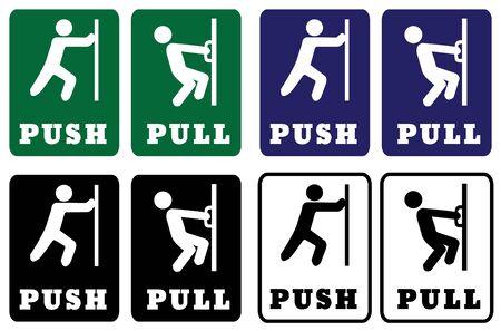 Collezione di cartelli Push Pull Door. Cartelli Push Pull Door che utilizzano i colori verde, blu, nero e bianco per lo sfondo