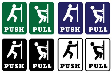 Push Pull Door sign collection.Push Pull Door signs using green,blue,black and white colors for Background