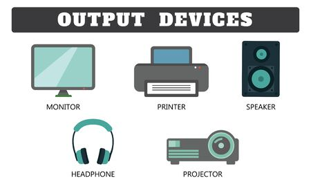 Output Device Collection on white background drawing by Illustration. Monitor,Printer,Speaker,Headphone & Projector drawing by Illustration