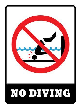No Diving board.No diving sign on white background drawing by illustration Векторная Иллюстрация