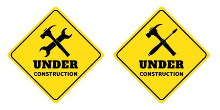 Under construction sign collection on yellow background drawing by illustration  イラスト・ベクター素材