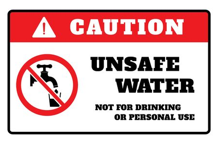 Non-Potable Water. Do Not Drink Sign with Icon.Unsafe water icon drawing by illustration