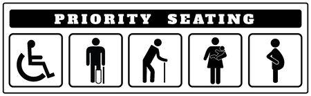 Prioritäts-Sitzplatzsymbole für Aufkleber, Deaktivieren, Passagiere, ältere Menschen, Passagiere, Schwangere, alter Mann, Frau mit Säugling Vektorgrafik
