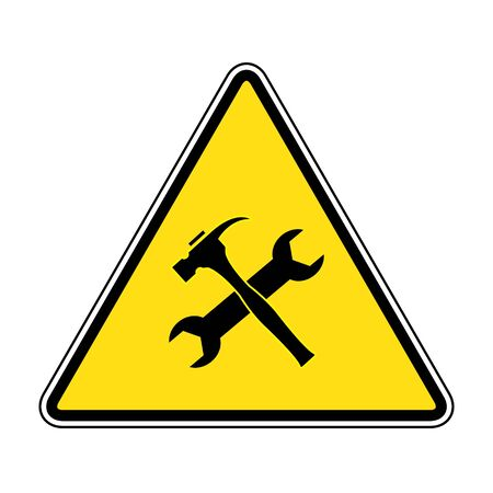 Caution attention symbol illustration. under construction icon.Under Construction Triangle Sign on yellow background drawing by illustration