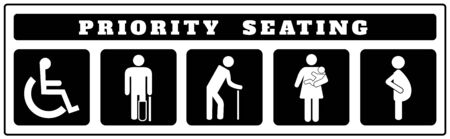 priority seating icons for Sticker on black background, Disable, passenger elderly, passenger, pregnant,old man, woman with infant