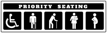 Prioritätssitzsymbole für Aufkleber auf schwarzem Hintergrund, Deaktivieren, Passagiere, ältere Menschen, Passagiere, Schwangere, alter Mann, Frau mit Kleinkind
