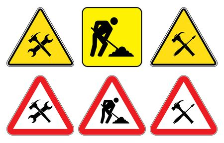 Under construction sign collection.Under Construction Triangle Signs on yellow background and Under construction signs as triangle shape with red border