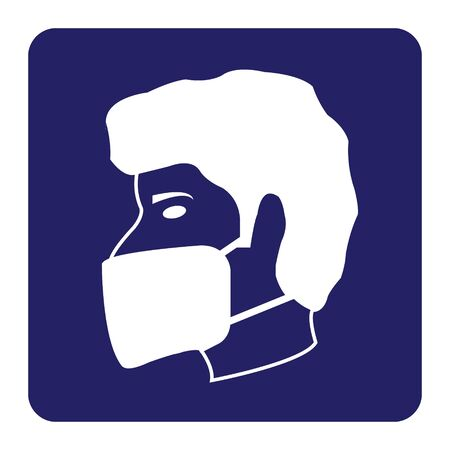 Wear face Mask icon on blue background drawing by Illustration.Safety Sign.Wear Dust Mask.